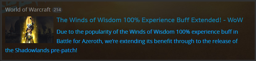 Blue Post experience buff