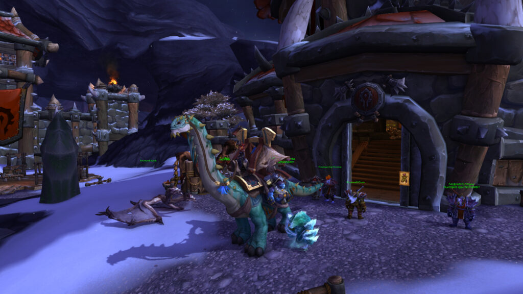 Frost Mage sitting on the Mighty Caravan Brutosaur in her Garrison